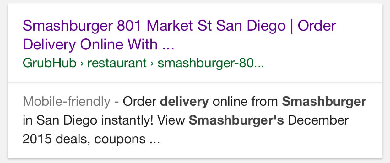 12/18/15 at 7:19 a.m. organic search result via Google mobile for deceptive restaurant profile on GrubHub
