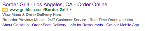 Deceptive online ad created by GrubHub featuring Border Grill