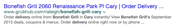 12/15/15 at 4:21 p.m. organic search result via Yahoo desktop for dummy restaurant profile page on GrubHub