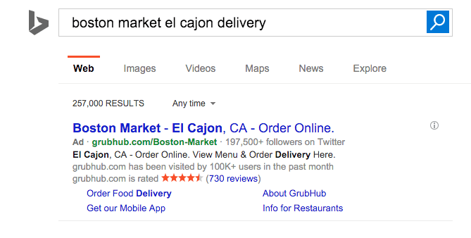 Deceptive GrubHub Search Ad for Boston Market served on Bing