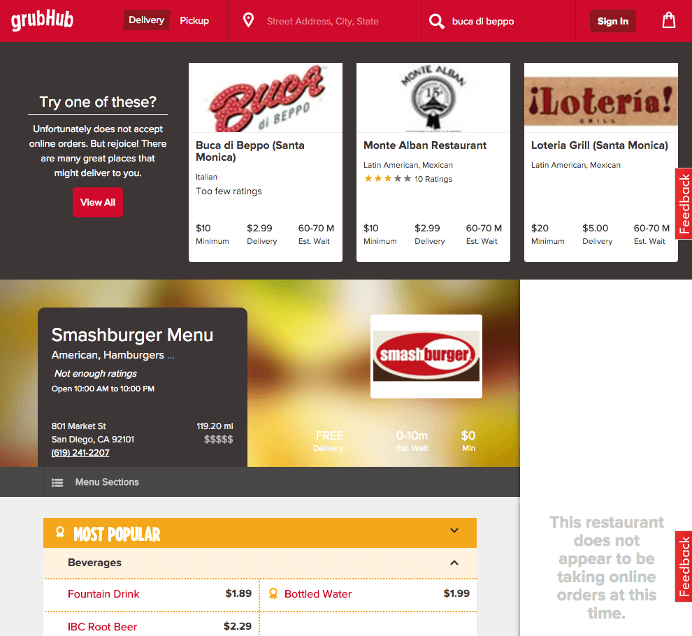 Smashburger San Diego, CA Misleading Profile on GrubHub
